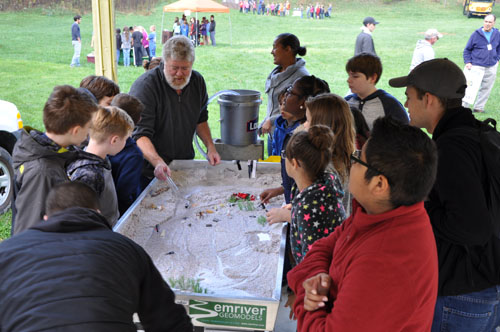 Students gather around a model to learn how stormwater impacts the terrain.
